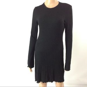 Reformation Women Black Ribbed Fitted Mini Dress S
